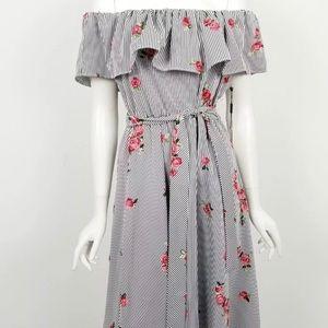 Calvin Klein stripped rose off the shoulder dress